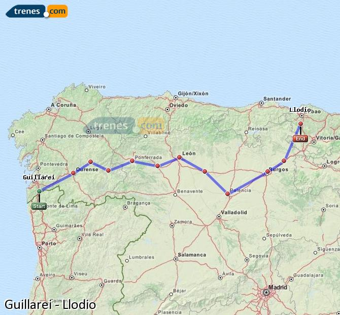 Agrandir la carte Trains Guillarei Llodio