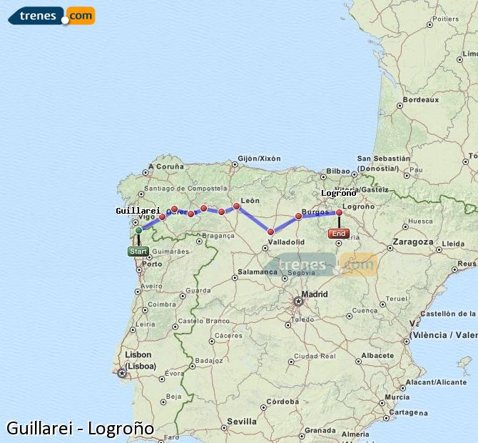 Ingrandisci la mappa Treni Guillarei Logroño