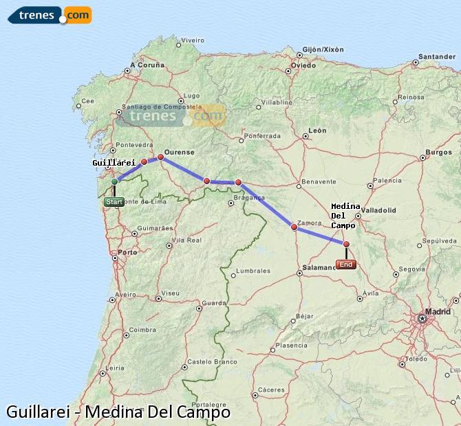Ingrandisci la mappa Treni Guillarei Medina Del Campo