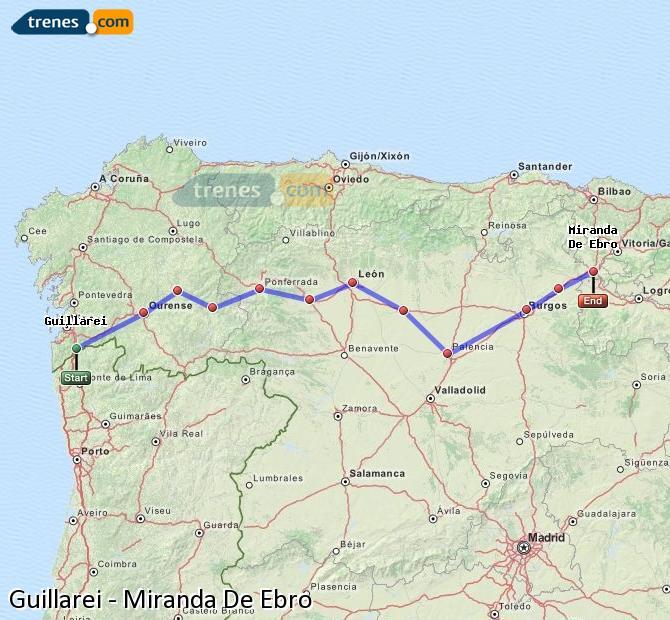 Ingrandisci la mappa Treni Guillarei Miranda De Ebro
