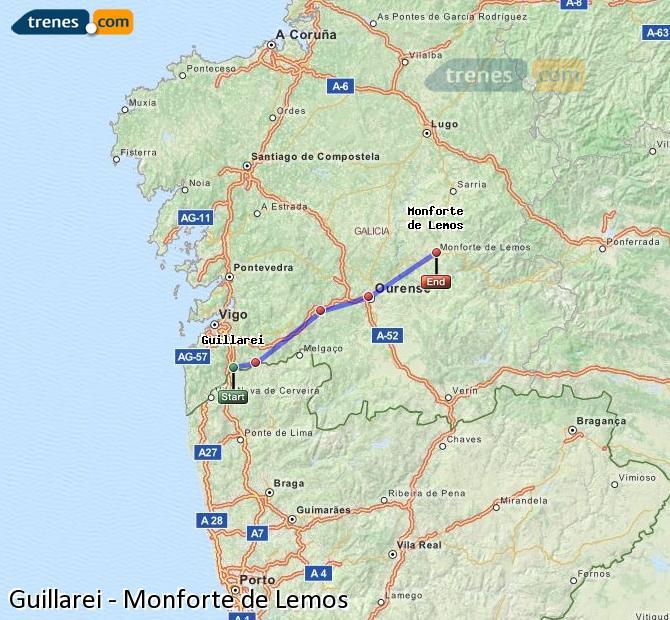 Ingrandisci la mappa Treni Guillarei Monforte de Lemos