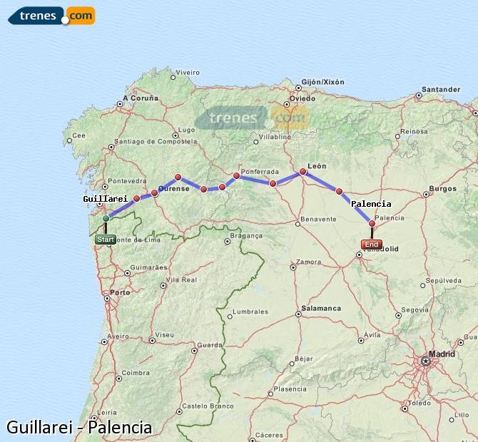 Ingrandisci la mappa Treni Guillarei Palencia