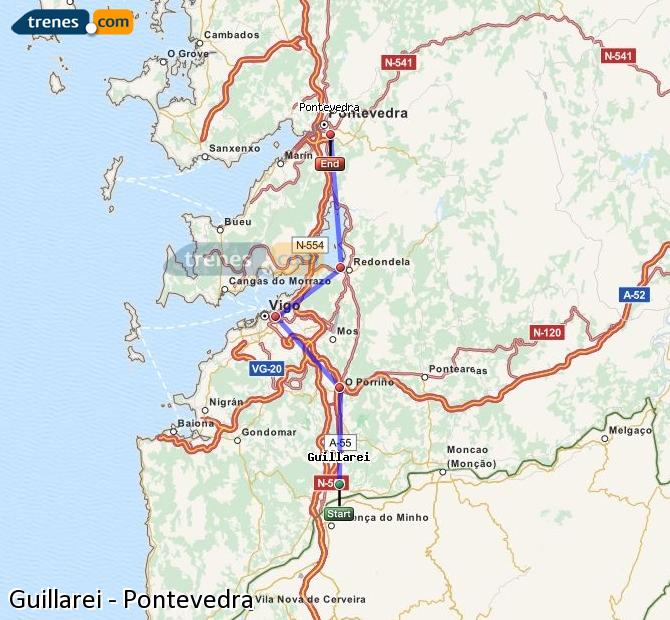 Ingrandisci la mappa Treni Guillarei Pontevedra