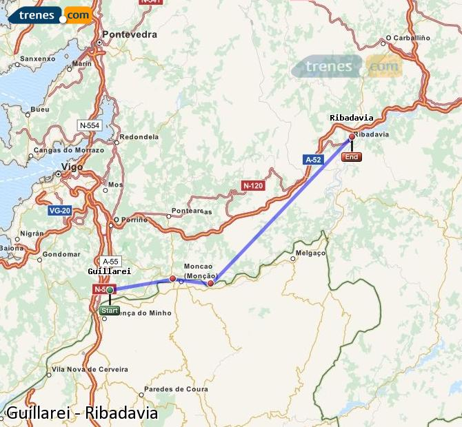 Ingrandisci la mappa Treni Guillarei Ribadavia