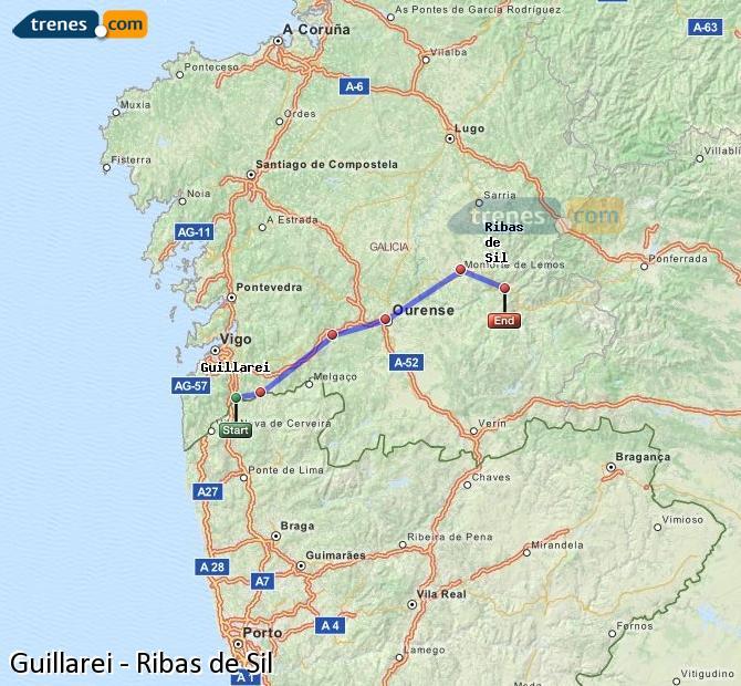 Ingrandisci la mappa Treni Guillarei Ribas de Sil