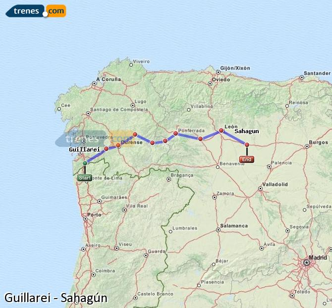 Enlarge map Trains Guillarei to Sahagun