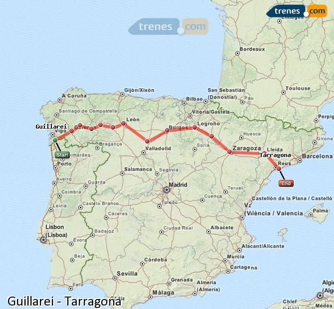 Agrandir la carte Trains Guillarei Tarragone
