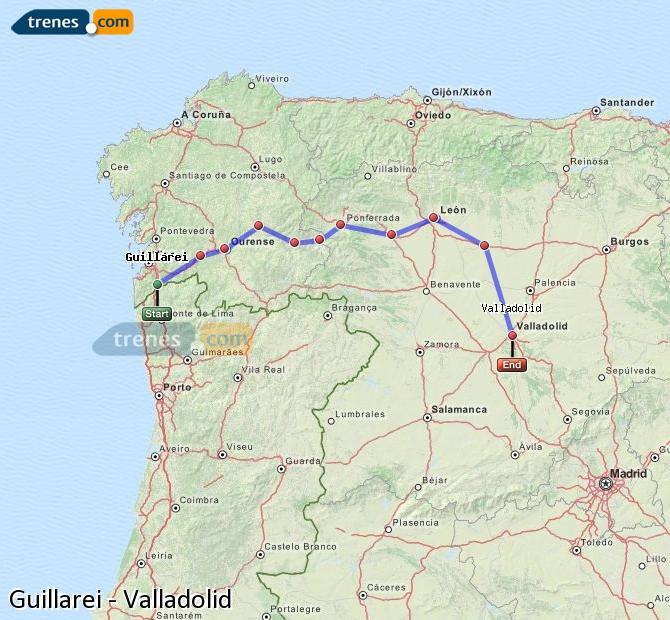 Ingrandisci la mappa Treni Guillarei Valladolid