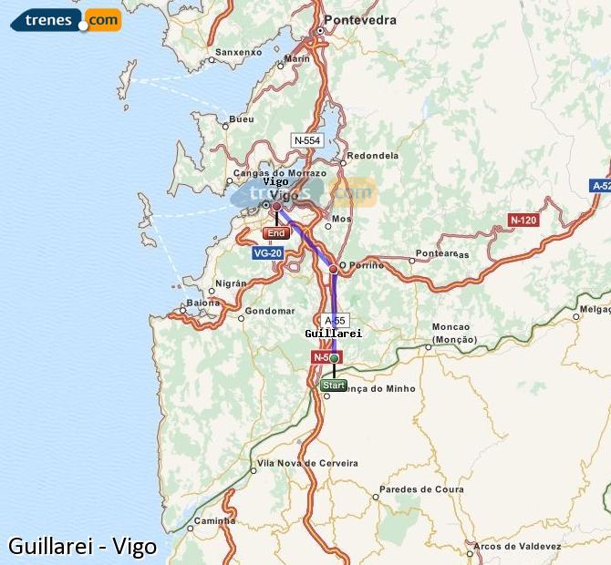 Ingrandisci la mappa Treni Guillarei Vigo