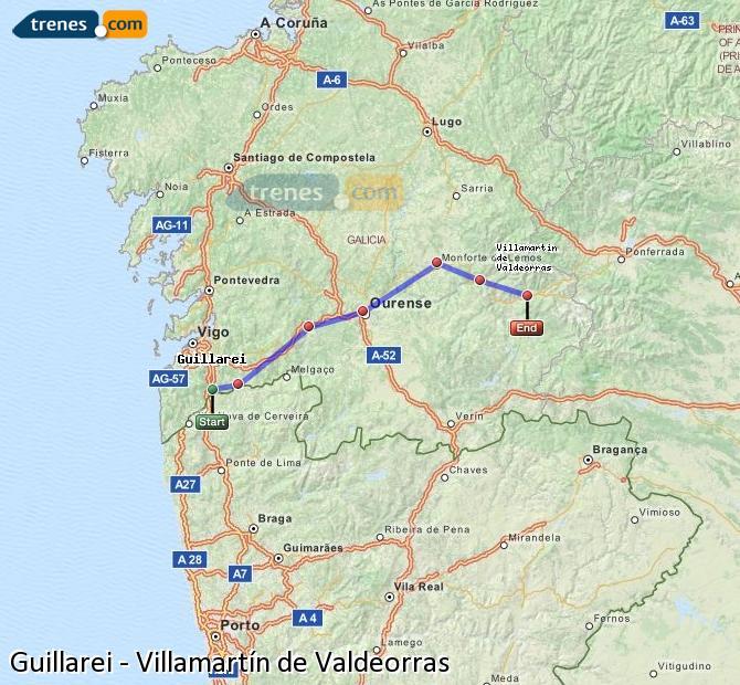 Karte vergrößern Züge Guillarei Villamartín de Valdeorras