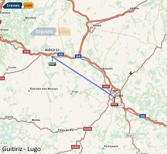 Karte vergrößern Züge Guitiriz Lugo