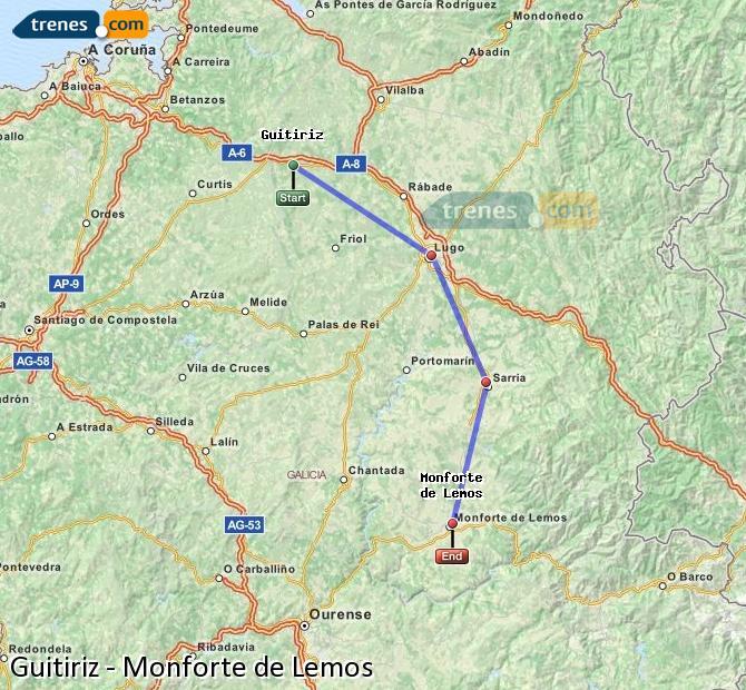 Ampliar mapa Trenes Guitiriz Monforte de Lemos