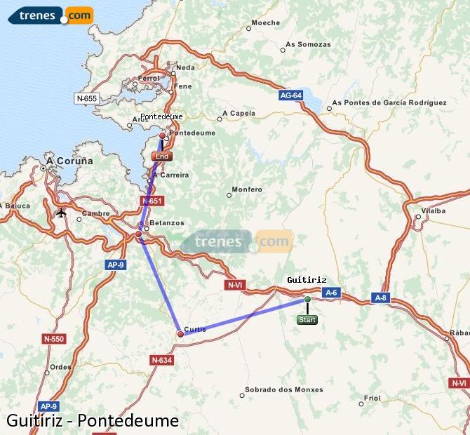 Ingrandisci la mappa Treni Guitiriz Pontedeume