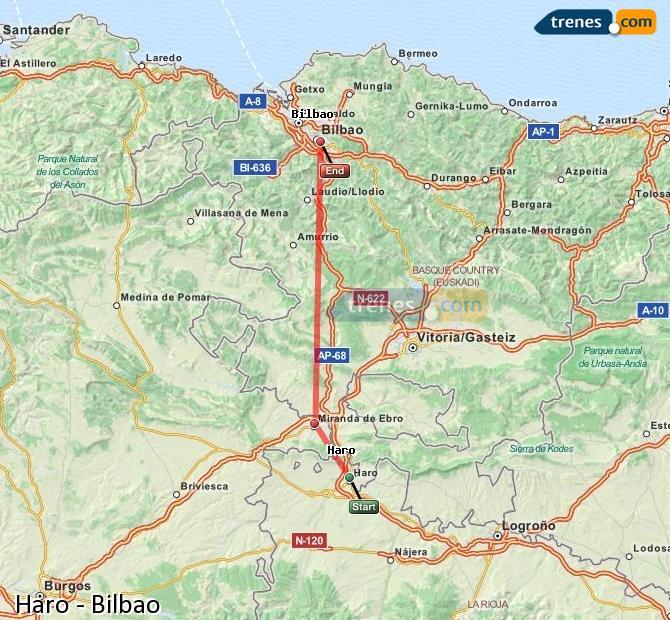 Ampliar mapa Trenes Haro Bilbao