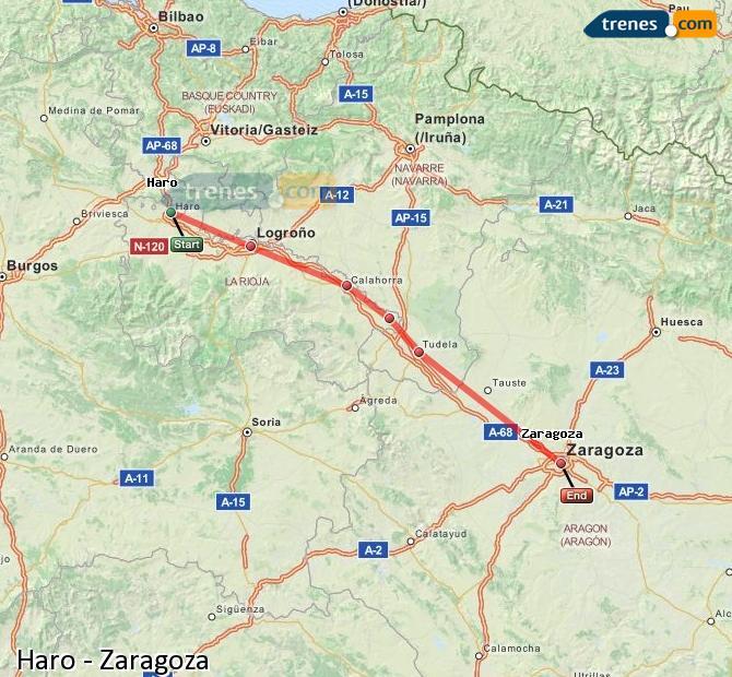 Karte vergrößern Züge Haro Zaragoza