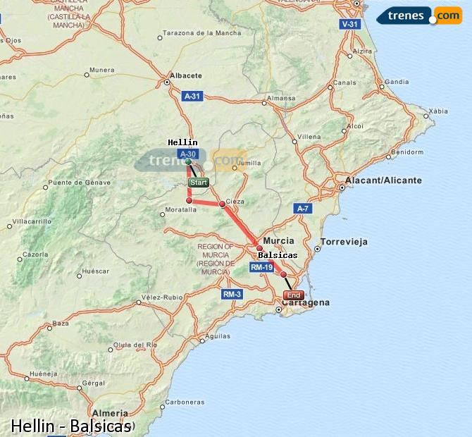 Enlarge map Trains Hellín to Balsicas