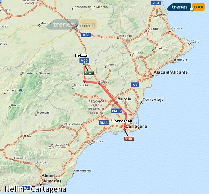 Enlarge map Trains Hellín to Cartagena