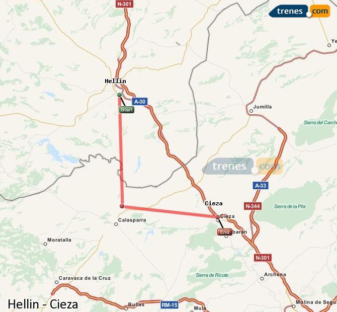Karte vergrößern Züge Hellín Cieza