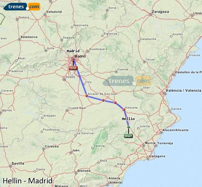 Enlarge map Trains Hellín to Madrid