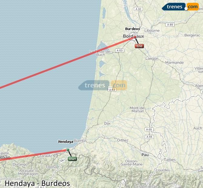 Agrandir la carte Trains Hendaye Bordeaux