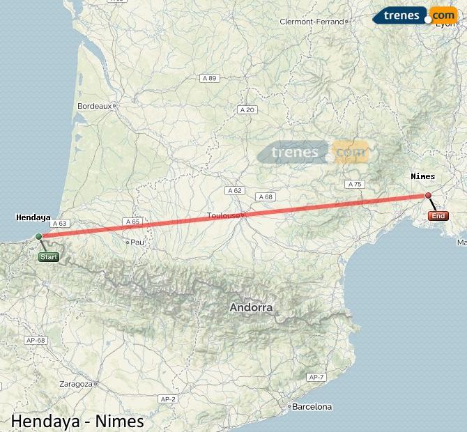 Ampliar mapa Comboios Hendaye Nimes