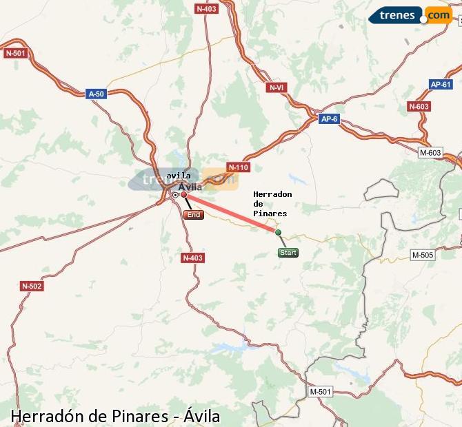 Ampliar mapa Comboios Herradón de Pinares Ávila