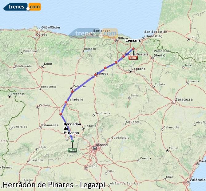 Ampliar mapa Trenes Herradón de Pinares Legazpi
