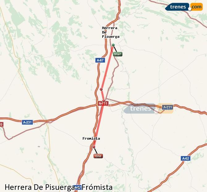 Karte vergrößern Züge Herrera De Pisuerga Frómista