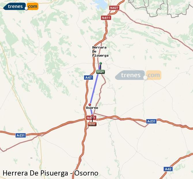 Enlarge map Trains Herrera De Pisuerga to Osorno