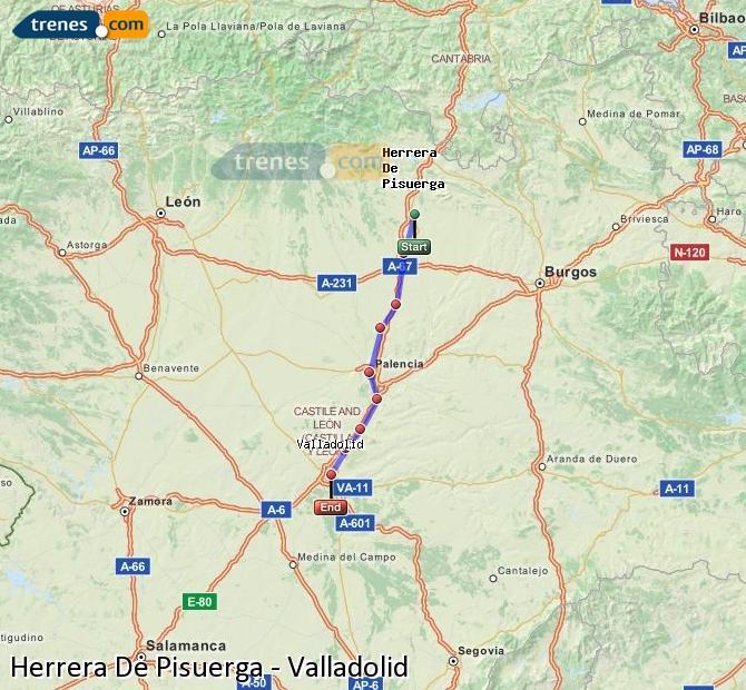 Enlarge map Trains Herrera De Pisuerga to Valladolid