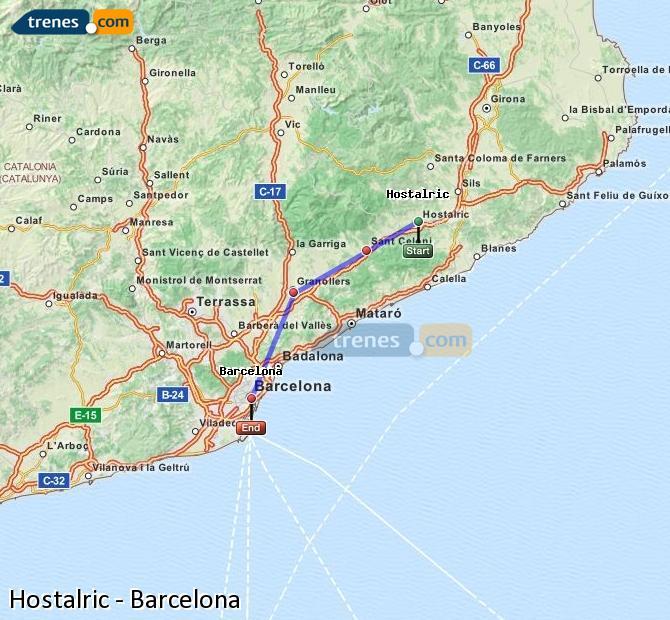 Agrandir la carte Trains Hostalric Barcelone