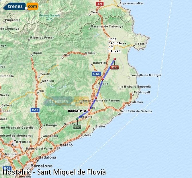 Karte vergrößern Züge Hostalric Sant Miquel de Fluvià