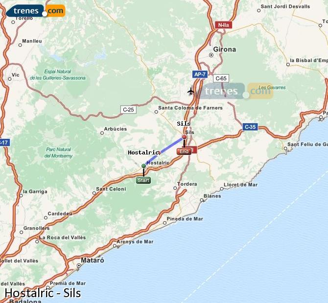 Enlarge map Trains Hostalric to Sils