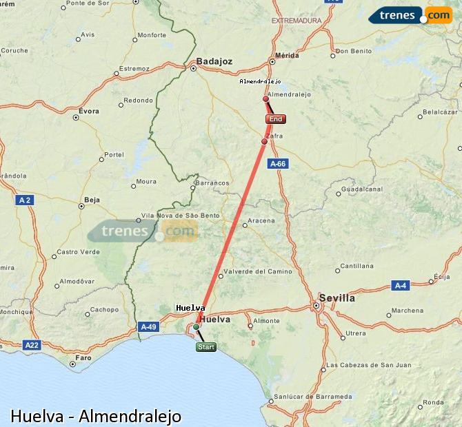 Agrandir la carte Trains Huelva Almendralejo