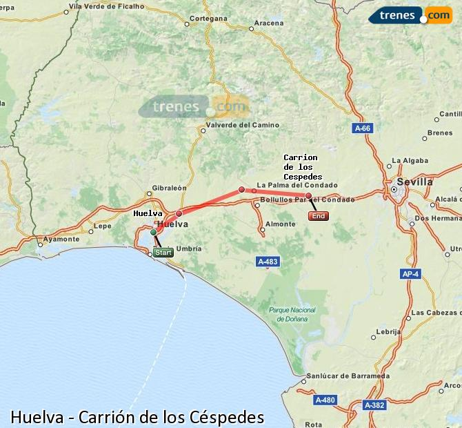Enlarge map Trains Huelva to Carrión de los Céspedes