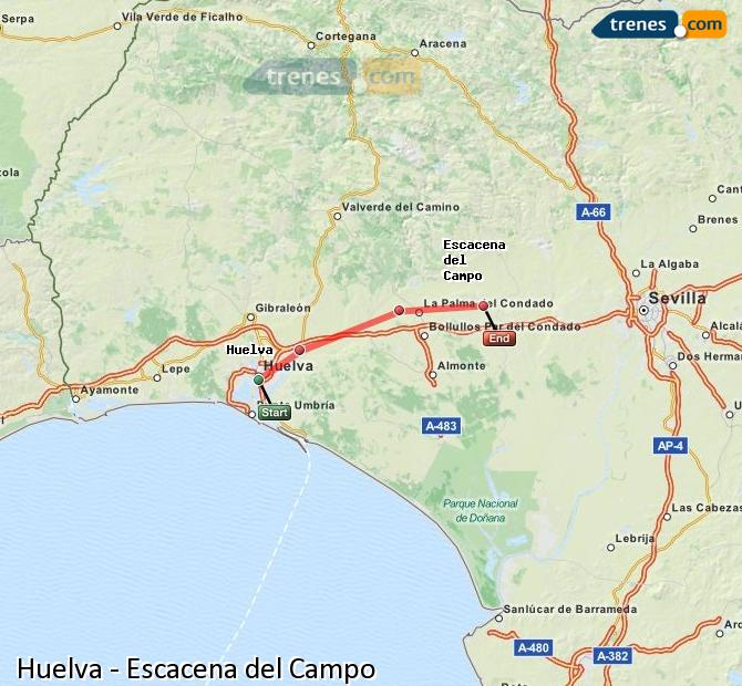Enlarge map Trains Huelva to Escacena del Campo