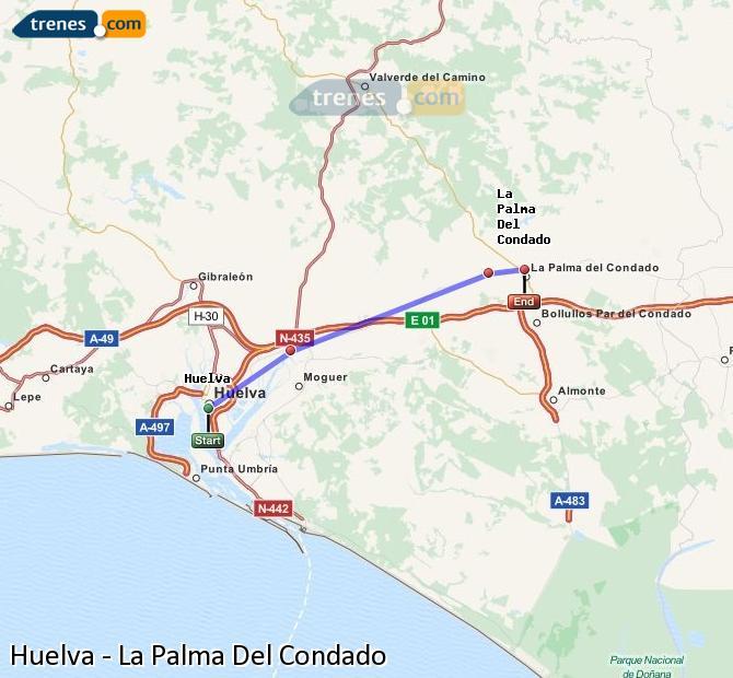 Karte vergrößern Züge Huelva La Palma Del Condado