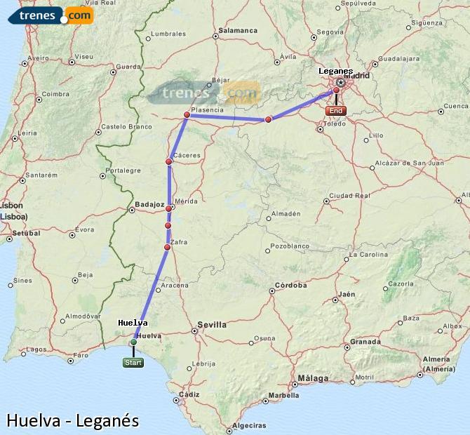 Ampliar mapa Trenes Huelva Leganés