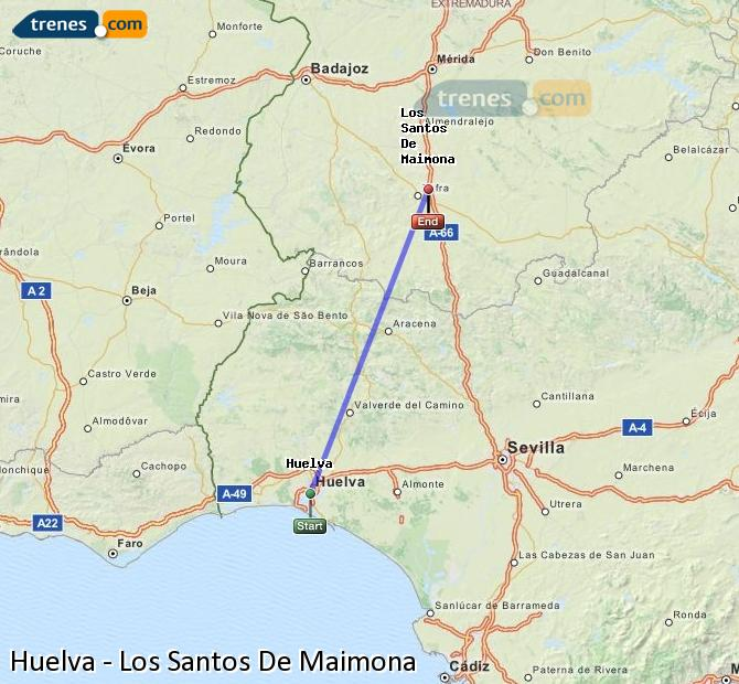 Enlarge map Trains Huelva to Los Santos De Maimona