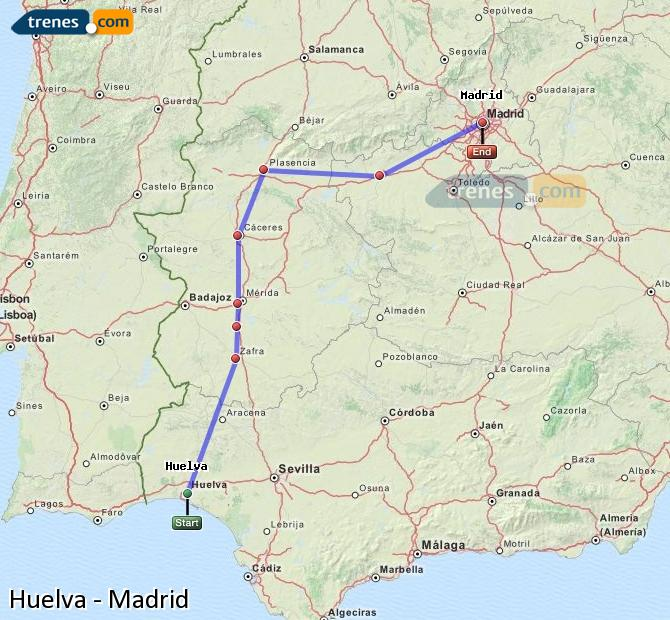 Enlarge map Trains Huelva to Madrid