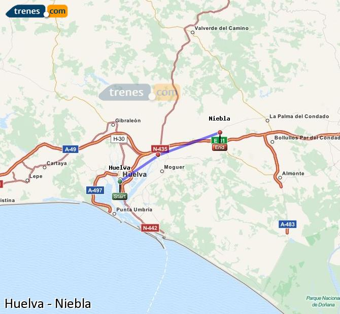 Enlarge map Trains Huelva to Niebla