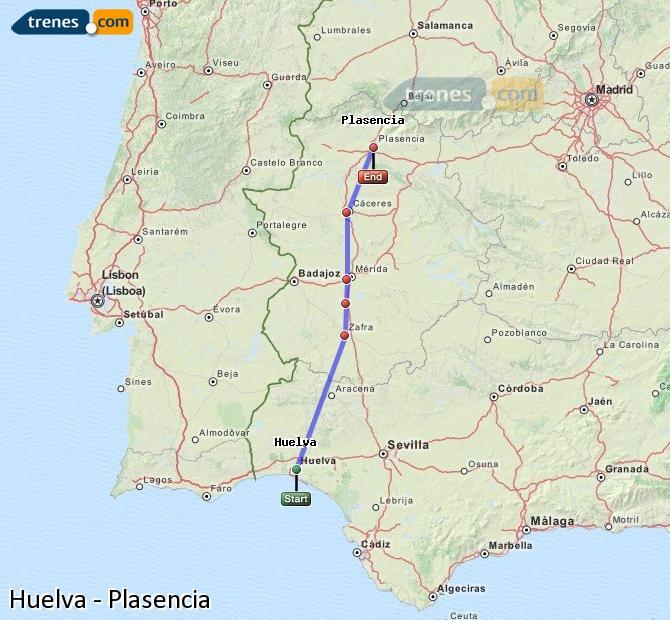Ingrandisci la mappa Treni Huelva Plasencia