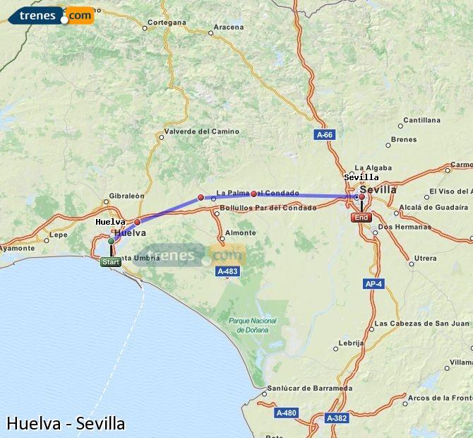 Ampliar mapa Trenes Huelva Sevilla