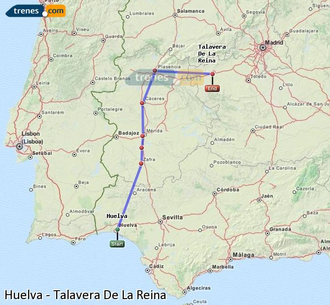 Enlarge map Trains Huelva to Talavera De La Reina