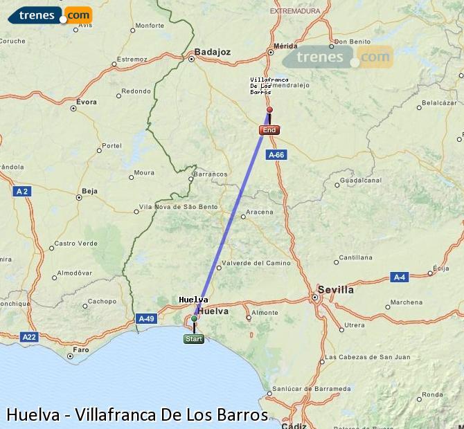 Enlarge map Trains Huelva to Villafranca De Los Barros