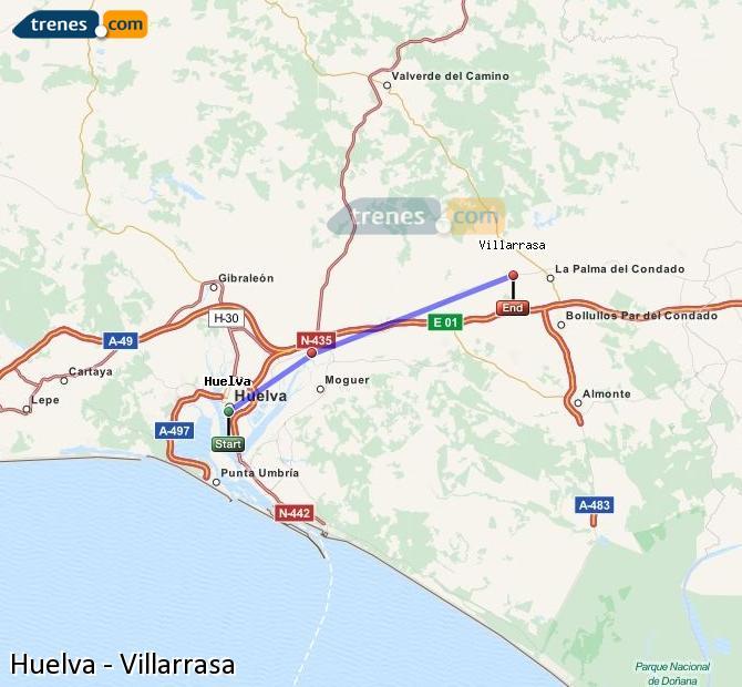 Ampliar mapa Trenes Huelva Villarrasa