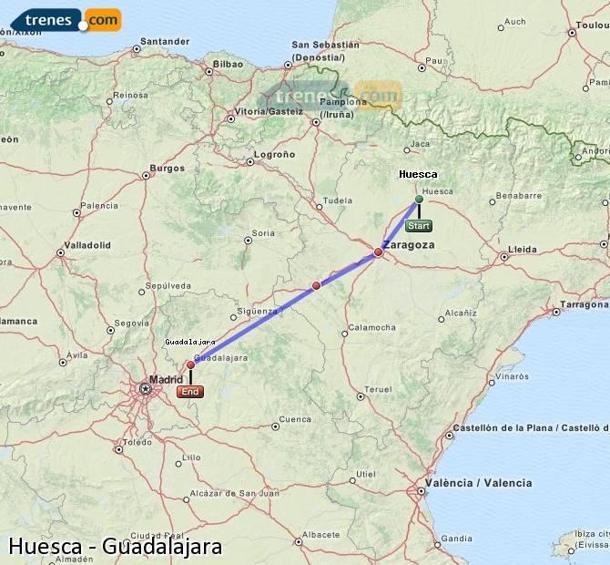Agrandir la carte Trains Huesca Guadalajara