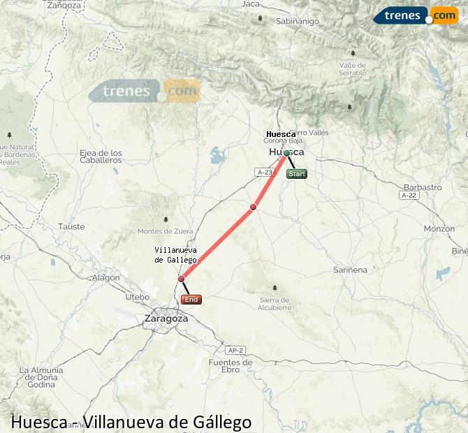 Karte vergrößern Züge Huesca Villanueva de Gállego