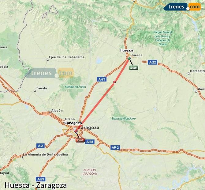 Ampliar mapa Trenes Huesca Zaragoza