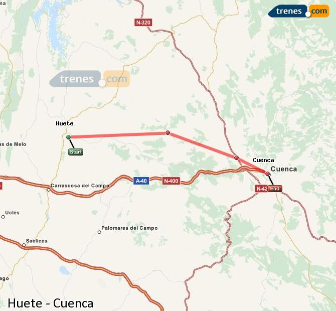 Enlarge map Trains Huete to Cuenca
